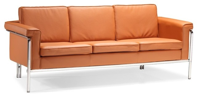 Singular Orange Leather Sofa - Modern - Sofas - new york - by ...