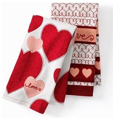 Valentine's Day 'Love' Heart Kitchen Towels contemporary-holiday-decorations