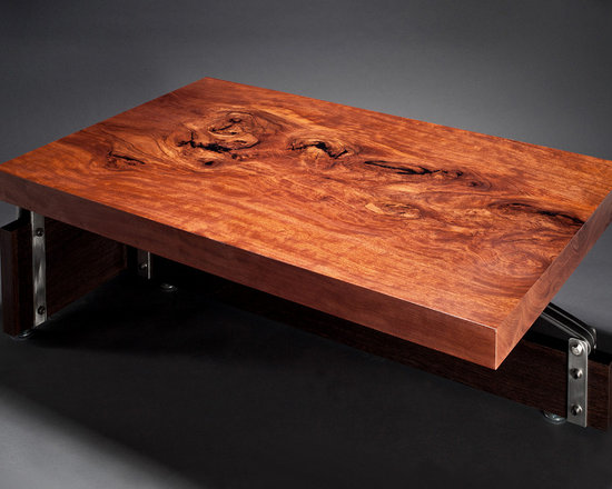 Bubinga Table with Knots - not2big® designs furniture combining the warmth of wood juxtaposed with the strength of steel and other repurposed materials to create a clean, modern aesthetic.