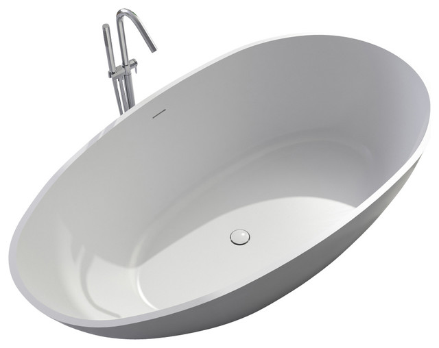 Stand Alone Bathtubs : ADM White Stand Alone Resin Bathtub - Contemporary - Bathtubs - by ADM ...