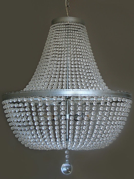 """Coeur Chandelier - Dramatic Crystal Chandelier by Studio Jota.  22"""" wide x 29"""" high, 4 candelabra bulbs.  This fixture can be customized in size, and is also available in black or turquoise, with custom metal finishes.  Can also be made as a hand-strung fixture with endless bead options."""