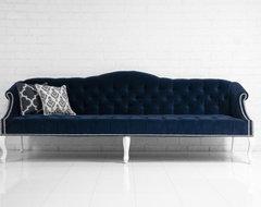 Mademoiselle Sofa, Navy Velvet contemporary-sofas