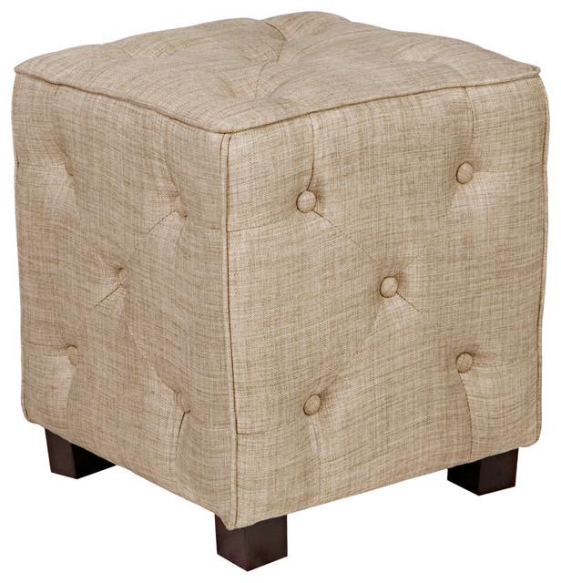 Portfolio delphia khaki brown small tufted cube ottoman