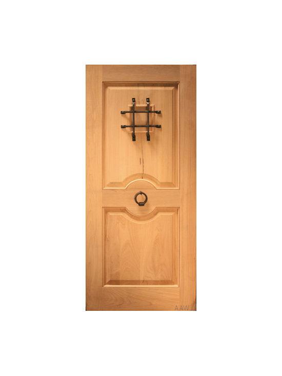 """Rustic Exterior Single Door with Speakeasy and Door Knocker, Solid Wood - SKU#R415-SQ_1BrandAAWDoor TypeExteriorManufacturer CollectionBudget DoorsDoor ModelDoor MaterialWoodWoodgrainTropical HardwoodVeneerPrice700Door Size Options36"""" x 80"""" (3'-0"""" x 6'-8"""")  $036"""" x 96"""" (3'-0"""" x 8'-0"""")  +$5042"""" x 96"""" (3'-6"""" x 8'-0"""")  +$100Core TypeSolidDoor StyleCraftsman , Rustic , Southwest StyleDoor Lite StyleDoor Panel Style2 PanelHome Style MatchingCraftsman , Rustic , SouthwestDoor ConstructionTrue Stile and RailPrehanging OptionsPrehung , SlabPrehung ConfigurationSingle DoorDoor Thickness (Inches)1.75Glass Thickness (Inches)Glass TypeGlass CamingGlass FeaturesGlass StyleGlass TextureGlass ObscurityDoor FeaturesDoor ApprovalsDoor FinishesDoor AccessoriesSpeakeasy , Door KnockerWeight (lbs)340Crating Size25"""" (w)x 108"""" (l)x 52"""" (h)Lead TimeSlab Doors: 7 daysPrehung:14 daysPrefinished, PreHung:21 daysWarranty"""