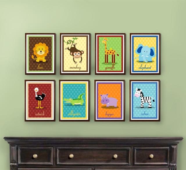 Safari Nursery Artwork - Set of 8 Prints - kids decor - other