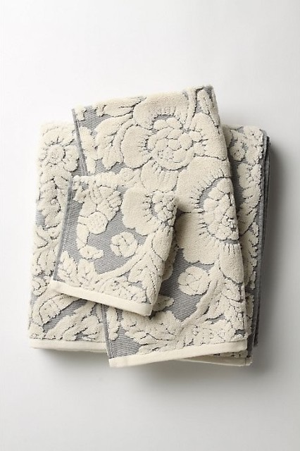 Perpetual Blooms Towels, Light Gray traditional-towels