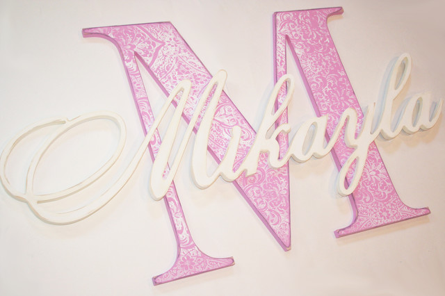 Monogram Wooden Wall Letters - Wall Letters - calgary - by Bouncing ...