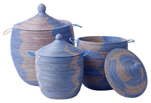 Senegalese Storage Baskets - Blue, Set of 3 traditional-baskets