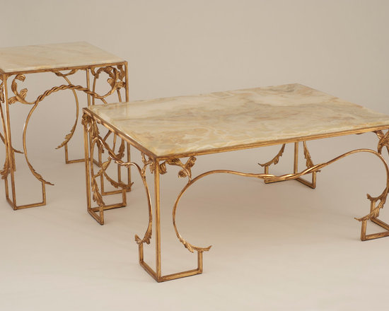 Hennessy Coffee Table - Art | Harrison Collection - Gilded and distressed scrolled iron table with onyx top. (Also shown as custom end table)
