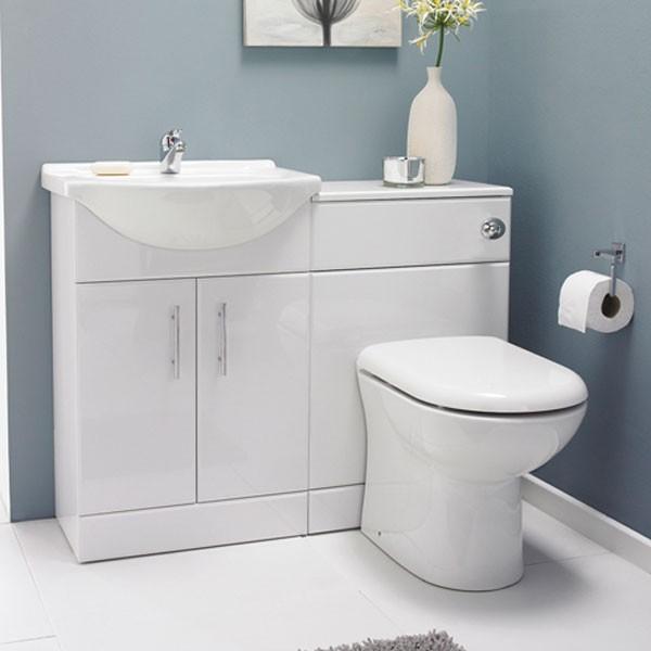 Sienna White Gloss Pack Modern Bathroom Vanity Units Sink Cabinets