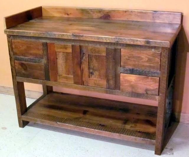 Reclaimed Barn Wood Bathroom Traditional Bathroom Vanity Units Sink Cabinets Minneapolis