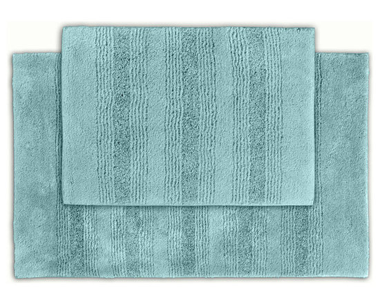 Sands Rug - Westport Stripe Sea Glass Washable Bath Rug (Set of 2) - Classic and comfortable, the Westport Stripe bath collection adds instant luxury to your bathroom, shower room or spa. Machine-washable, always plush nylon holds up to wear, while the non-skid latex makes sure rugs stay in place.