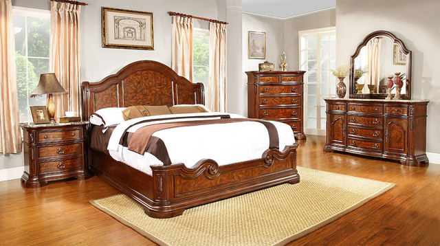 Cherry Mansion King Bedroom Set Transitional Bedroom Furniture