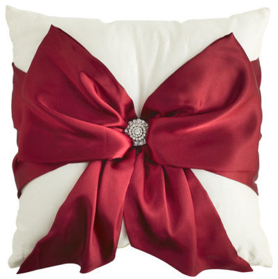 Red Bow Silk Pillow - Traditional - Decorative Pillows - by Pier 1 Imports