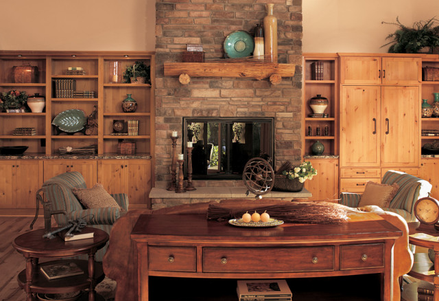 Canyon Creek Cornerstone - Shaker in Rustic Alder with a Honey stain eclectic living room
