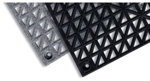 "12"" x 12"" Grid-Step Mat 3/4"" Modular Tile Interlocking System PVC Black contemporary-rugs"