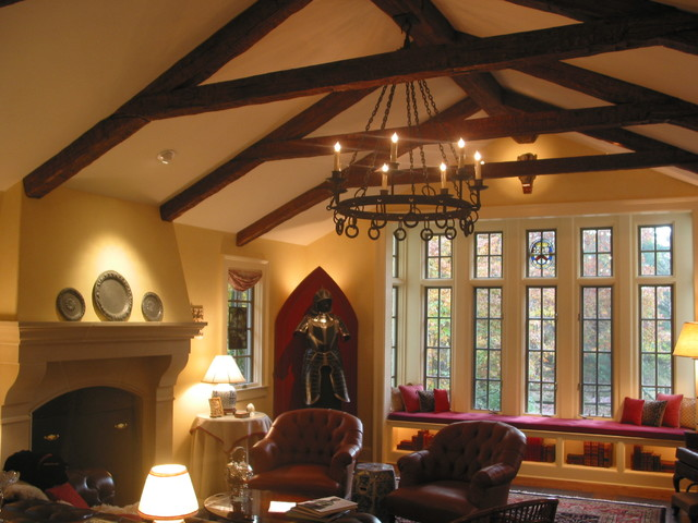 Medieval Themed Family Room With Truss Traditional Family Room New York By Fauxwoodbeams