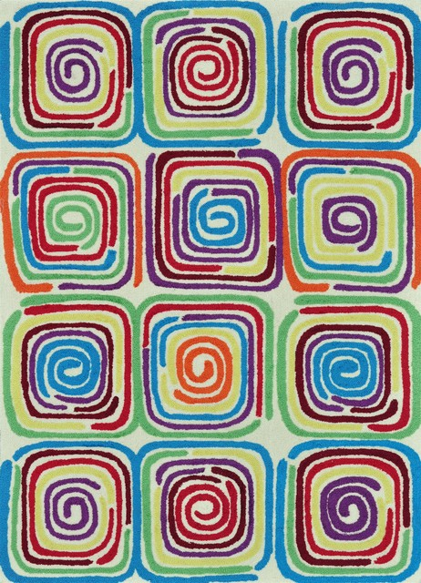 Juliana Ivory-Multi Transitional Hand Hooked Rug transitional-rugs