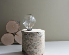 White Birch Forest Lamp, Natural White Birch Wood by Urban+ Forest eclectic table lamps