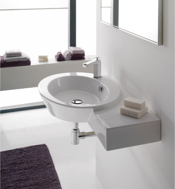 Sink Attached To Wall : Stylish Oval Shaped Wall Mounted or Vessel Sink with Counter Space ...