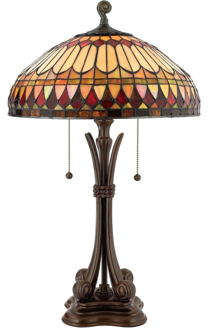 "Quoizel West End Tiffany 26-1/2"" 2-Light Table Lamp in Brushed Bullion Finish table-lamps"