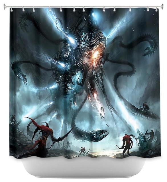 Shower Curtain Artistic Mech Dragon Battle