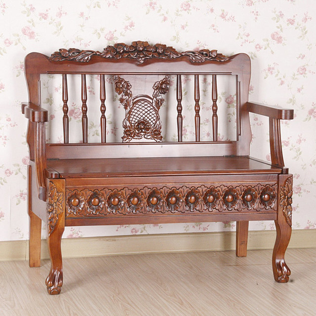 Carved wood bench with under seat storage contemporary