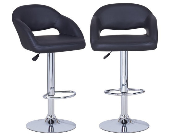None - Adeco Black Hydraulic Lift Adjustable Barstool Low Cut Out Back Chair,Leather-Lo - Also available in brown