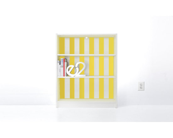 PANYL Lemon Drop Thick Stripes for IKEA BILLY - Give your bookcase a bold new look with PANYL Thick Stripes. Easy to apply and no mess!
