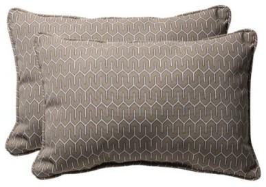 Pillow Perfect 24.5 x 16.5 Decorative Taupe Contemporary Toss Pillow - Set of 2 modern-outdoor-pillows