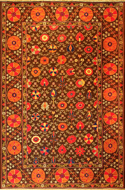 Garden Suzani (chocolate/red - Suzani design 4) eclectic-rugs