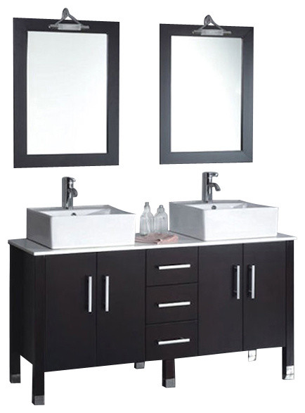 Cambridge 60 Solid Wood Porcelain Double Vessel Sink Vanity Set
