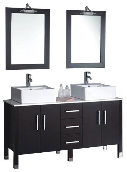Cambridge 60 Solid Wood Porcelain Double Vessel Sink Vanity Set Nickel Fau Modern