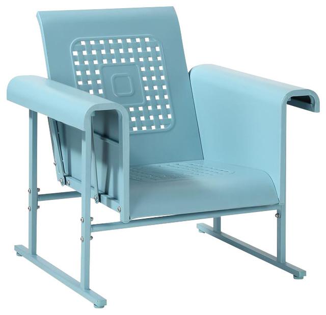 Veranda Single Glider Chair in Caribbean Blue Contemporary Outdoor Glider