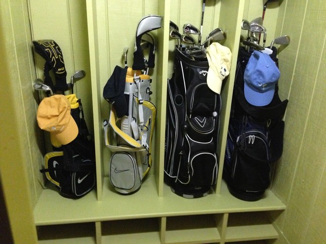 Golf Club Storage Cupboard (from Hgtv House At Kiawah. Princess White Quartzite. Cabinet Ideas. Casual Curtain. Lights. Blue End Table. Laundry Room Furniture. Contemporary Dining Chair. Www Custommade Com