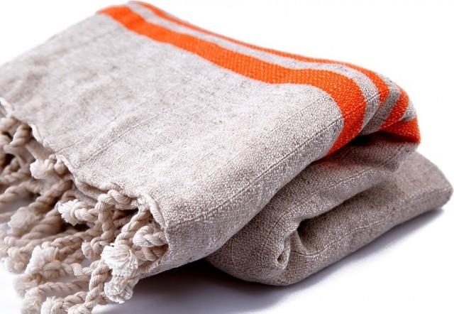 Linen Turkish Bath Towel Pestemal Orange Stripes On