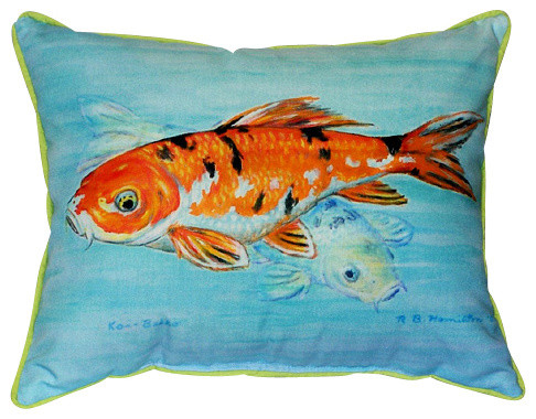 Betsy Drake Koi Pillow- Indoor/Outdoor - outdoor pillows - by