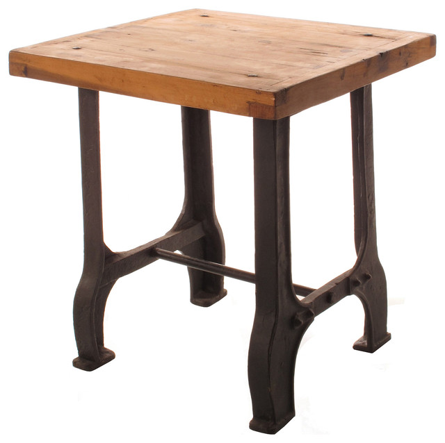 Foundry reclaimed wood cast iron base end table for Cast iron end table