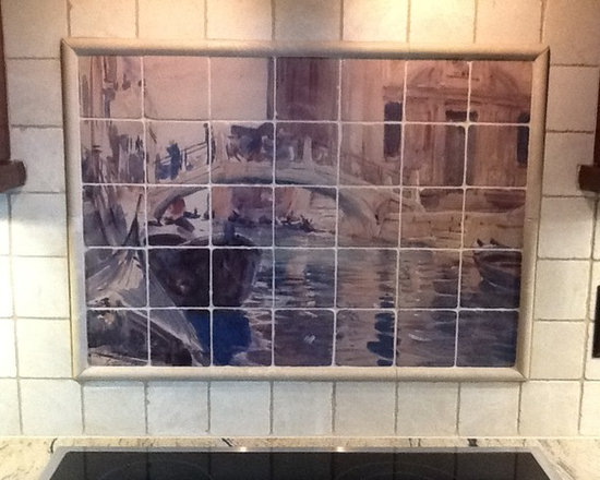 Kitchen murals - Landscape tile mural for kitchen backsplash design.