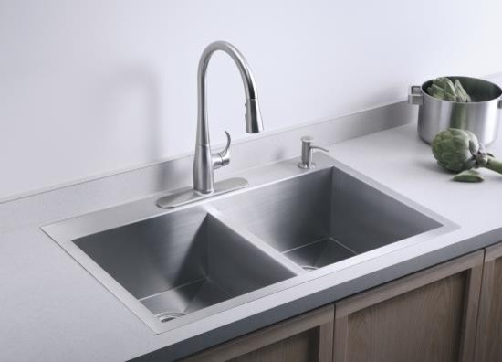 Double Basin Kohler Kitchen Sink Contemporary Kitchen