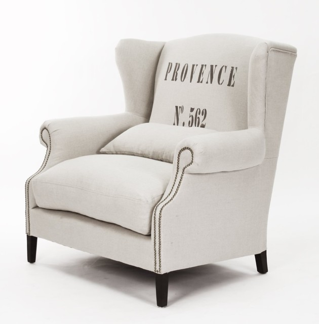 Napoleon Linen Brass Nail head Half Wingback Chair contemporary-accent-chairs