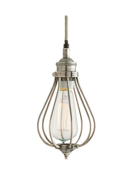 Arteriors Derek Pendant - A single bulb caged in vintage silver. Hang just one or create your own cluster. Shown with an Edison bulb.