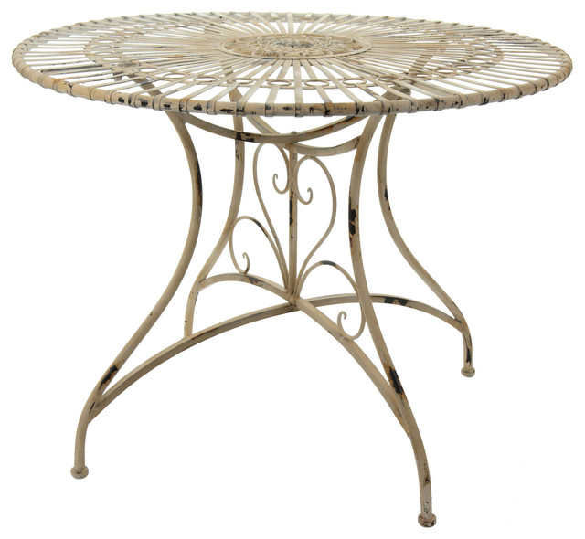 Rustic Circular Garden Table Distressed White  : traditional outdoor dining tables from www.houzz.com size 640 x 590 jpeg 71kB