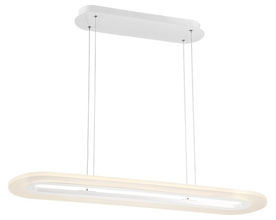 """Possini Euro Design - Possini Euro Latimer 39"""" Wide White LED Island Chandelier - Latimer contemporary island chandelier. By Possini Euro Design. Includes 17 watt LED. Light output is 1600 lumens. Comparable to a 100 watt incandescent bulb. 3000K to 4200K color temperature. Includes wire for hanging. 39"""" wide. 9 1/2"""" high. Maximum hanging height is 47"""" high.  Latimer contemporary island chandelier.  By Possini Euro Design.  Dimmable using an electronic low voltage dimmer or an LED rated dimmer.  Includes 17 watt LED.  Light output is 1600 lumens.  Comparable to a 100 watt incandescent bulb.  3000K to 4200K color temperature.  Adjustable to maximum of 62 3/8"""" hanging height.  39"""" wide.  9 1/2"""" high.  Oval canopy is 21 1/2"""" wide.  Hang weight is 10.4 pounds."""