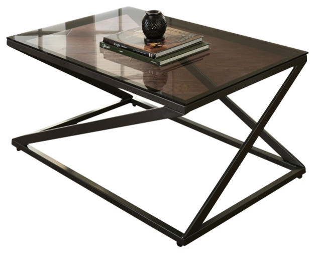 Steve Silver Darius 3 Piece Glass Top Coffee Table Set With Metal Base Traditional Coffee