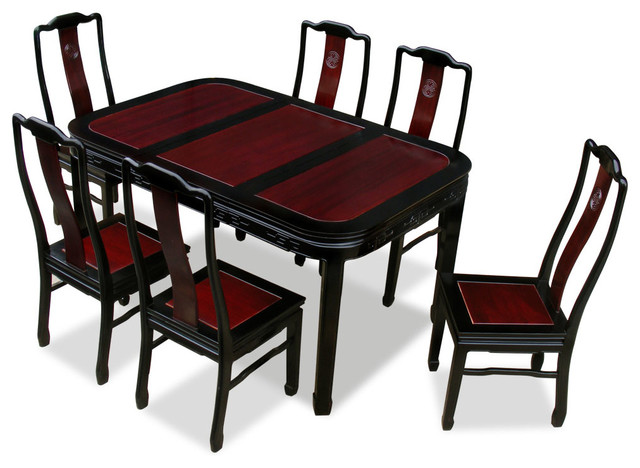 60in Rosewood Longevity Design Dining Table With 6 Chairs
