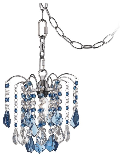 Contemporary nicolli blue crystal 8 wide swag plug in mini chandelier contemporary chandeliers - Sparkling small crystal chandelier designs for any interior room ...