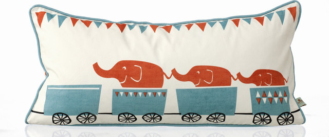 Tiny Train Organic Cotton Playful Pillow by Ferm Living contemporary pillows