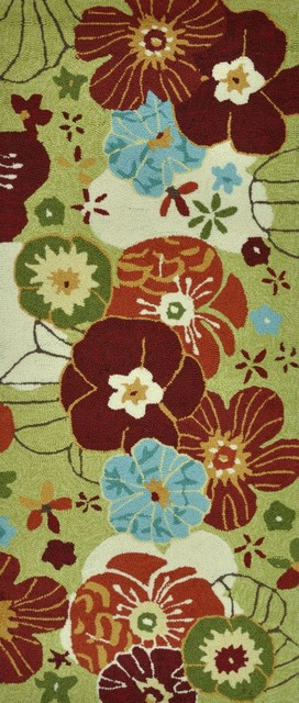 """Country & Floral Summerton Hallway Runner 2'0""""x5' Runner Lime-Multi Area Rug tropical-rugs"""