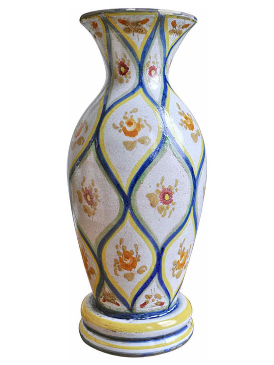 Murano Ceramic Lamp Base - This beautiful unwired lamp base was painted in the famed Italian Murano district between 1930-1964's by the Guerrieri brothers, pottery artists of the time.